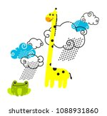 the giraffe and the frog  a... | Shutterstock .eps vector #1088931860