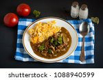 mushrooms in sauce with mashed... | Shutterstock . vector #1088940599