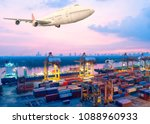container ship in export and... | Shutterstock . vector #1088960933