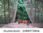 romantic couple sleeping in bed ...   Shutterstock . vector #1088973806