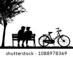 silhouette vintage bike and... | Shutterstock . vector #1088978369