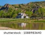 Ranch house and pond in Teddy Rosevelt National Park, North Dakota