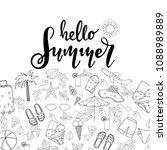 summer lettering. set hand...   Shutterstock .eps vector #1088989889