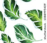 watercolor tropical leaves... | Shutterstock . vector #1088995409