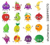 smiling fruit icons set.... | Shutterstock . vector #1088999570