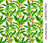 seamless tropical pattern with... | Shutterstock . vector #1089027983