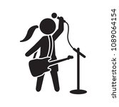 female singer with guitar icon. ... | Shutterstock .eps vector #1089064154