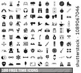 100 free time icons set in... | Shutterstock . vector #1089067046
