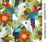 seamless tropical pattern with...   Shutterstock .eps vector #1089097970