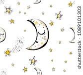 baby cute sky seamless pattern... | Shutterstock .eps vector #1089101303