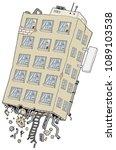 apartment building flying...   Shutterstock .eps vector #1089103538