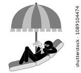 tourist relaxing under umbrella ... | Shutterstock .eps vector #1089104474