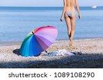 beach still life from rainbow... | Shutterstock . vector #1089108290