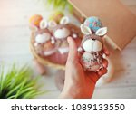 handmade knitted toy. easter...   Shutterstock . vector #1089133550