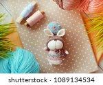 handmade knitted toy. easter...   Shutterstock . vector #1089134534