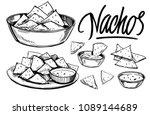 sketch of nachos. hand drawn... | Shutterstock .eps vector #1089144689