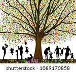 colored tree and silhouettes of ... | Shutterstock .eps vector #1089170858