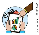 color businessmen hands with... | Shutterstock .eps vector #1089197600