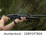firing pump action shotgun  | Shutterstock . vector #1089197804