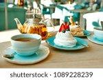 meringue with cream and... | Shutterstock . vector #1089228239