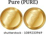 set of physical golden coin... | Shutterstock .eps vector #1089233969