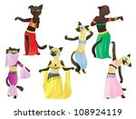 cats   oriental dancers dressed ... | Shutterstock .eps vector #108924119