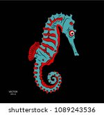 sea horse in the ocean. vector ... | Shutterstock .eps vector #1089243536