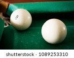 old billiard balls on a table... | Shutterstock . vector #1089253310