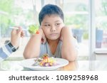 anorexia  obese fat boy with... | Shutterstock . vector #1089258968