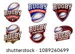 rugby logo badge design | Shutterstock .eps vector #1089260699