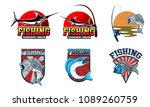 fishing logo badge design | Shutterstock .eps vector #1089260759