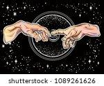 god and adams hands. modern... | Shutterstock .eps vector #1089261626