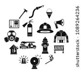 fireman tools icons set. simle... | Shutterstock .eps vector #1089264236