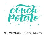 hand sketched couch potato text ... | Shutterstock .eps vector #1089266249