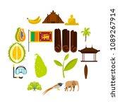 sri lanka travel set icons in...   Shutterstock .eps vector #1089267914