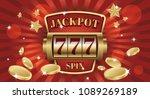 777 jackpot win screen slot... | Shutterstock .eps vector #1089269189