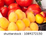 apricots and tomatoes on a... | Shutterstock . vector #1089272150