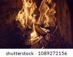 closeup of firewood burning in... | Shutterstock . vector #1089272156