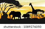 african savannah silhouette... | Shutterstock .eps vector #1089276050