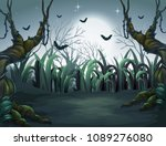 scary dark night in forest... | Shutterstock .eps vector #1089276080