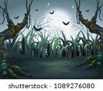 scary dark night in forest... | Shutterstock .eps vector #1089276080