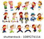 a set of urban kids activities... | Shutterstock .eps vector #1089276116