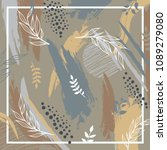 colorful silk scarf floral with ... | Shutterstock .eps vector #1089279080