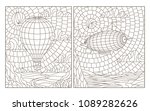set of contour stained glass... | Shutterstock .eps vector #1089282626