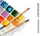 plastic palette with colorful... | Shutterstock . vector #1089282689