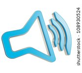 Stylized dynamic speaker as sound volume icon glossy blue emblem isolated on white - stock photo