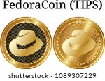 set of physical golden coin... | Shutterstock .eps vector #1089307229
