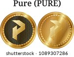 set of physical golden coin... | Shutterstock .eps vector #1089307286