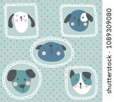 vector set of funny dogs... | Shutterstock .eps vector #1089309080