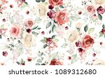 Stock photo seamless pattern with flowers and leaves hand drawn background floral pattern for wallpaper or 1089312680